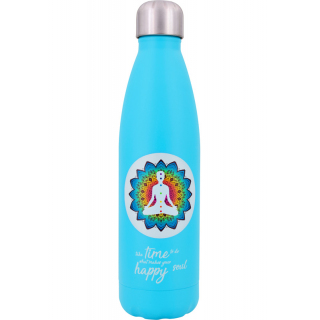 Edelstahl Thermoflasche hellblau Yoga 0,5l
